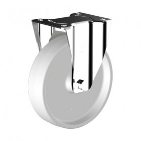 Roulette polyamide blanc chape inox
